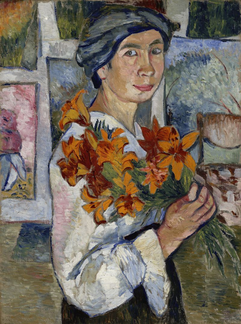 2 Gontsjarova, Zelfportret met gele lelies