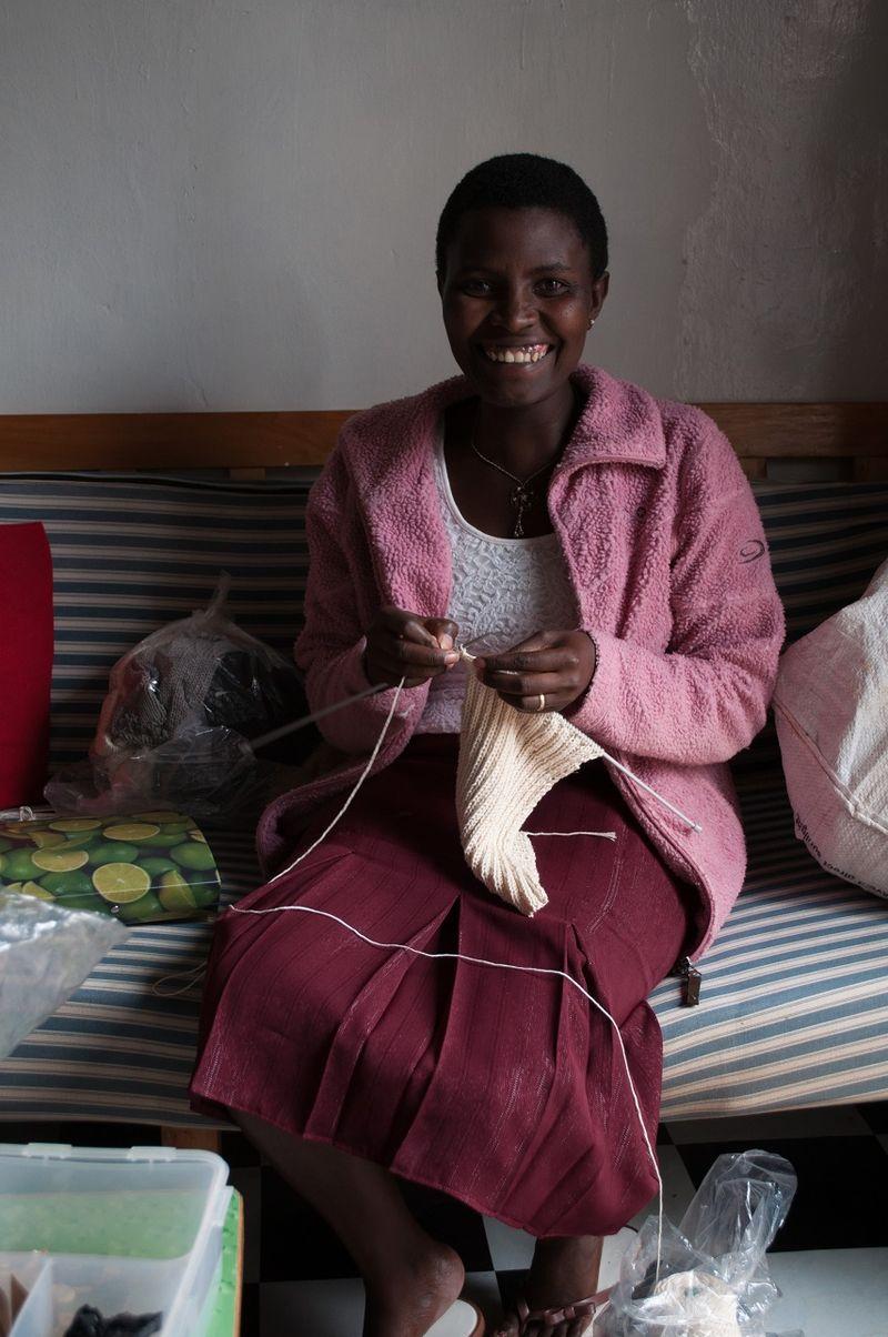 Catherine Knitting