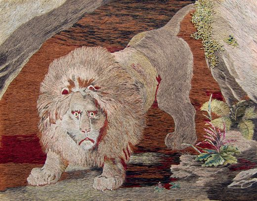 BritishFolkArt_Lion_emerging_from_a_cave_MaryLinwood