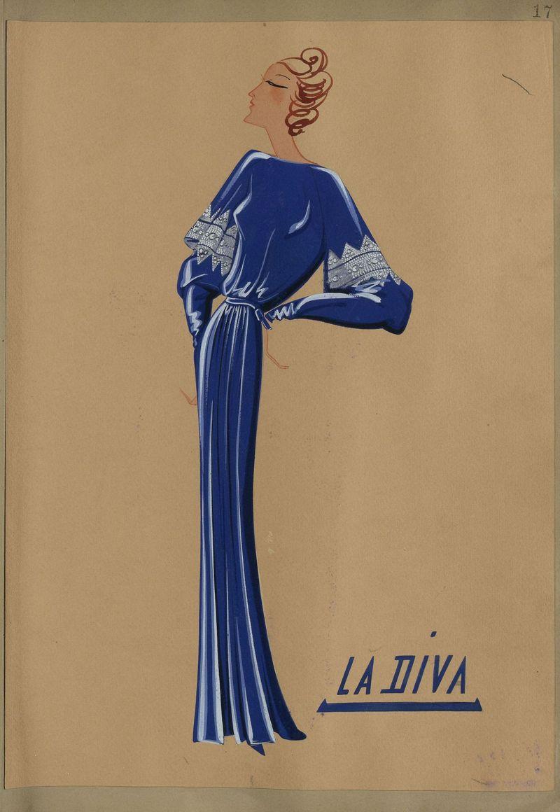La Diva (dessin), 1935-36 -® Patrimoine Lanvin (300)