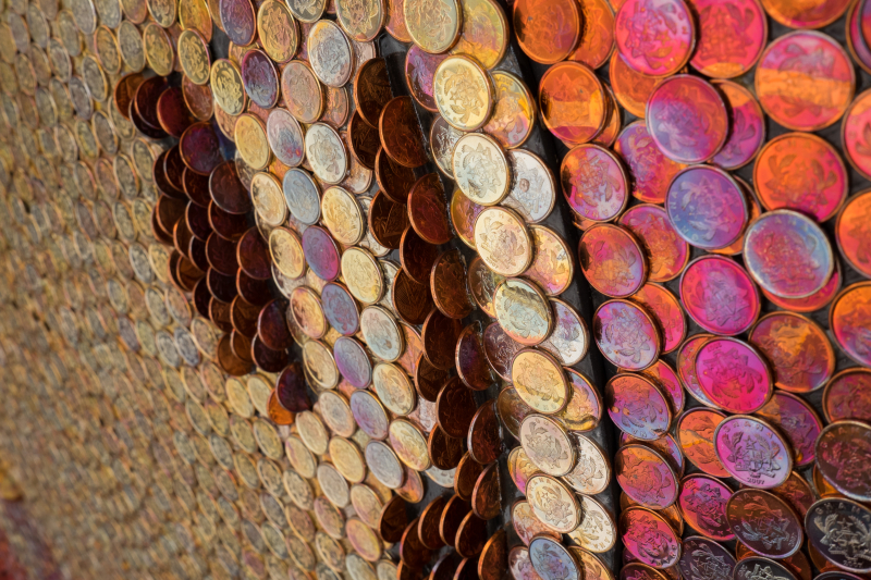 Yaw Owusu  (Detail) Resurrence  2017  Coins on Plywood  52 in diameter. Image courtesy of the artist and Gallery 1957  Accra