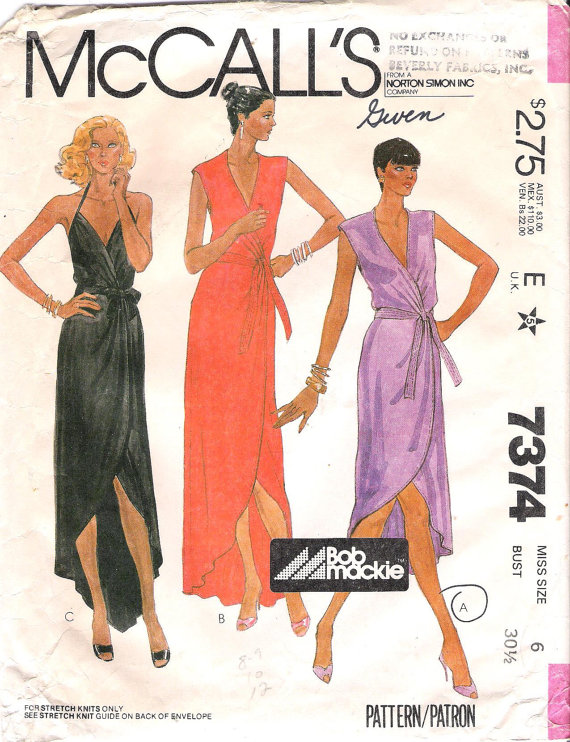 McCalls 7374 Bob Mackie 1980s Wrap Dress Sewing Pattern Size 12 Bust 34 Sleeveless Dress Disco Dress