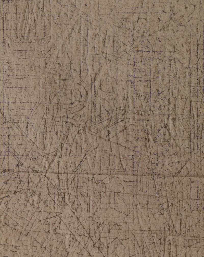 Carbonpapier met detail kerk uit M.C. Eschers Dag en Nacht (1938). Foto Erik en Petra Hesmerg.
