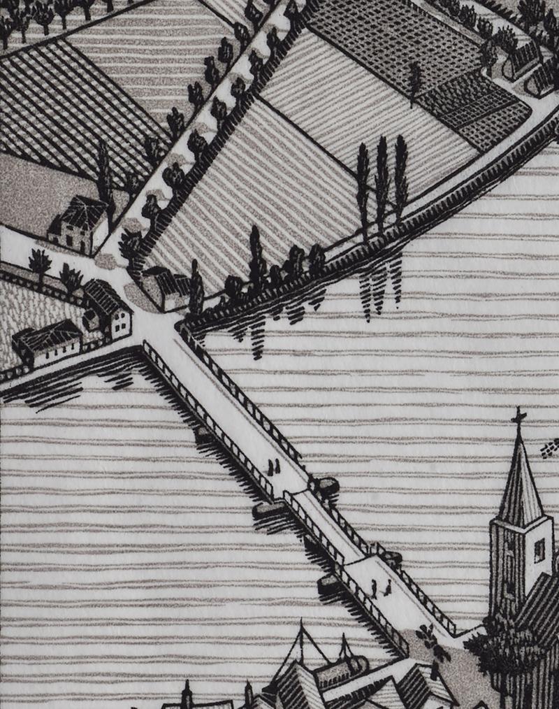 Detail brug uit Dag en Nacht (1938)  M.C. Escher © the M.C. Escher Company B.V. All rights reserved. www.mcescher.com. Foto Erik en Petra Hesmerg.