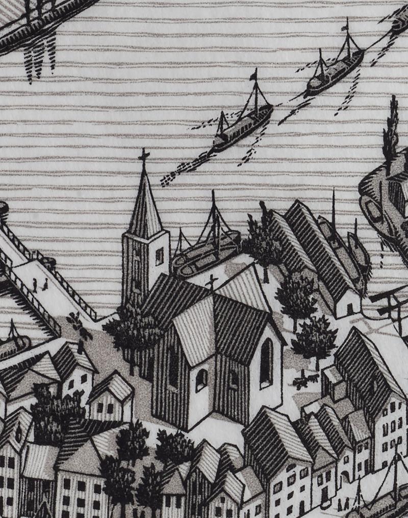 Detail kerk uit Dag en Nacht (1938)  M.C. Escher © the M.C. Escher Company B.V. All rights reserved. www.mcescher.com. Foto Erik en Petra Hesmerg.