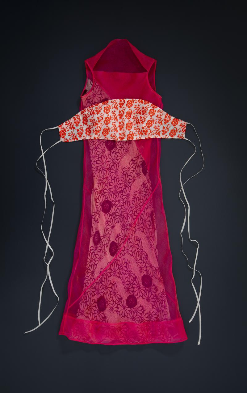 Sleeveless bias-cut dress with embroidered cummerbund  silk organza  nylon  Spring Summer 1997. Photo by Marinco Kojdanovski