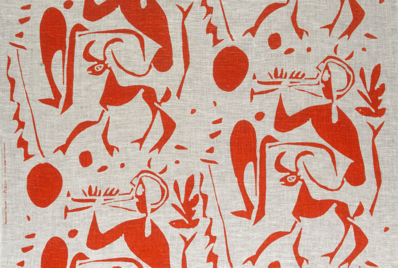Bloomcraft Fabrics. Pablo Picasso (1881 - 1973) Musical Fawn 1963. Size 96 x 121 cms
