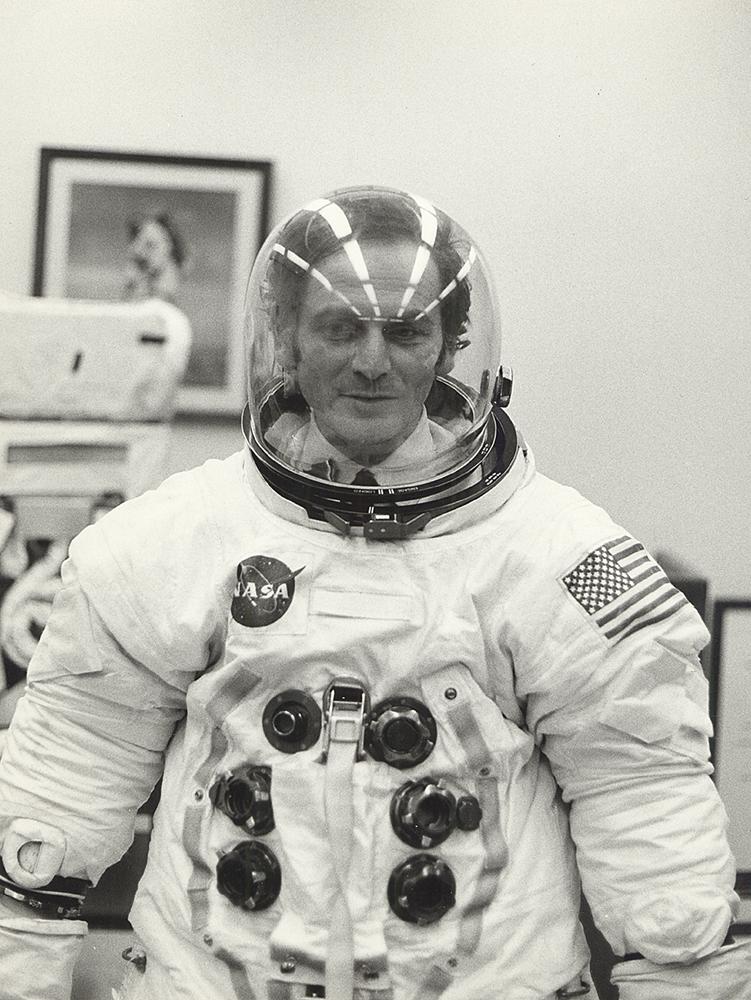 Pierre Cardin wearing Apollo 11 space suit