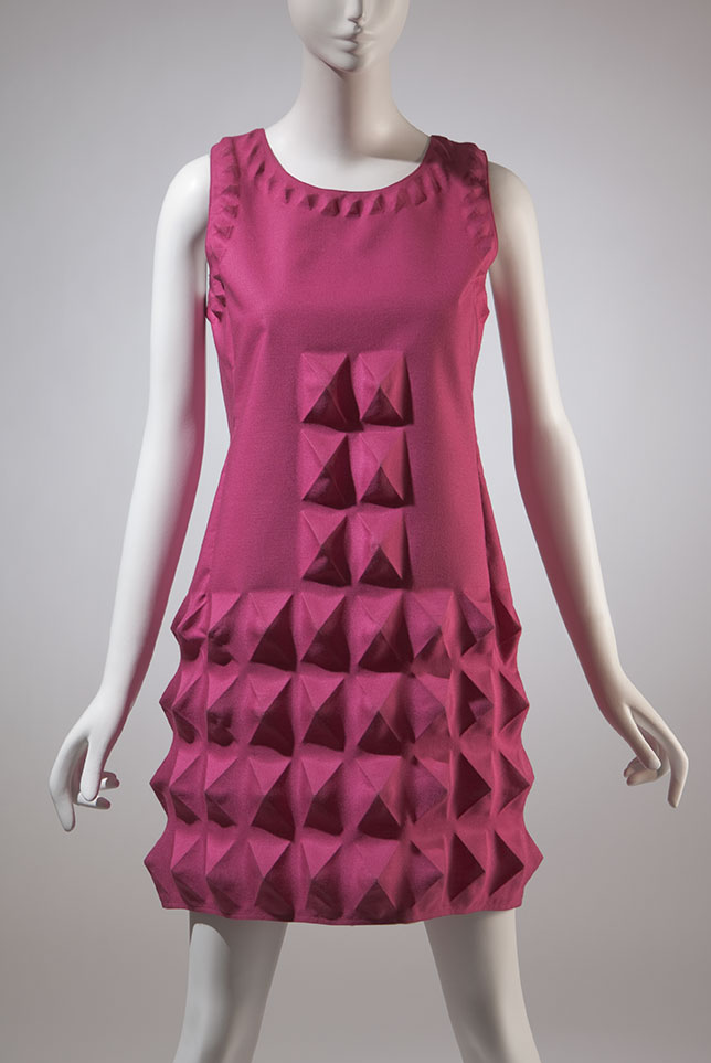 1968_Pierre_Cardin_dress _pink_heat_moulded_Dynel
