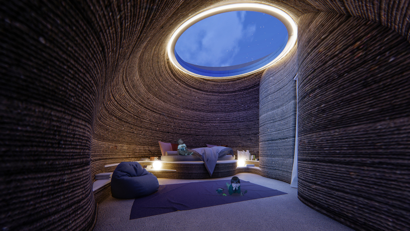 TECLA3DHouse_bedroom_night time summer © Mario Cucinella Architects