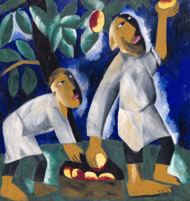 Natalia Goncharova - Peasants Picking Apples 1911