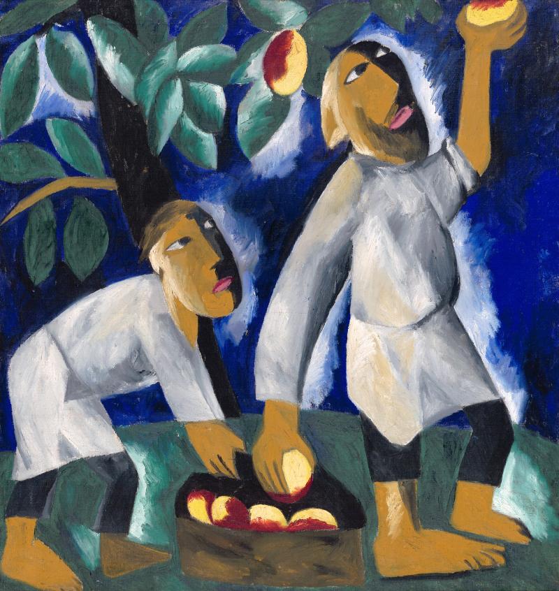Natalia Goncharova - Peasants Picking Apples 1911