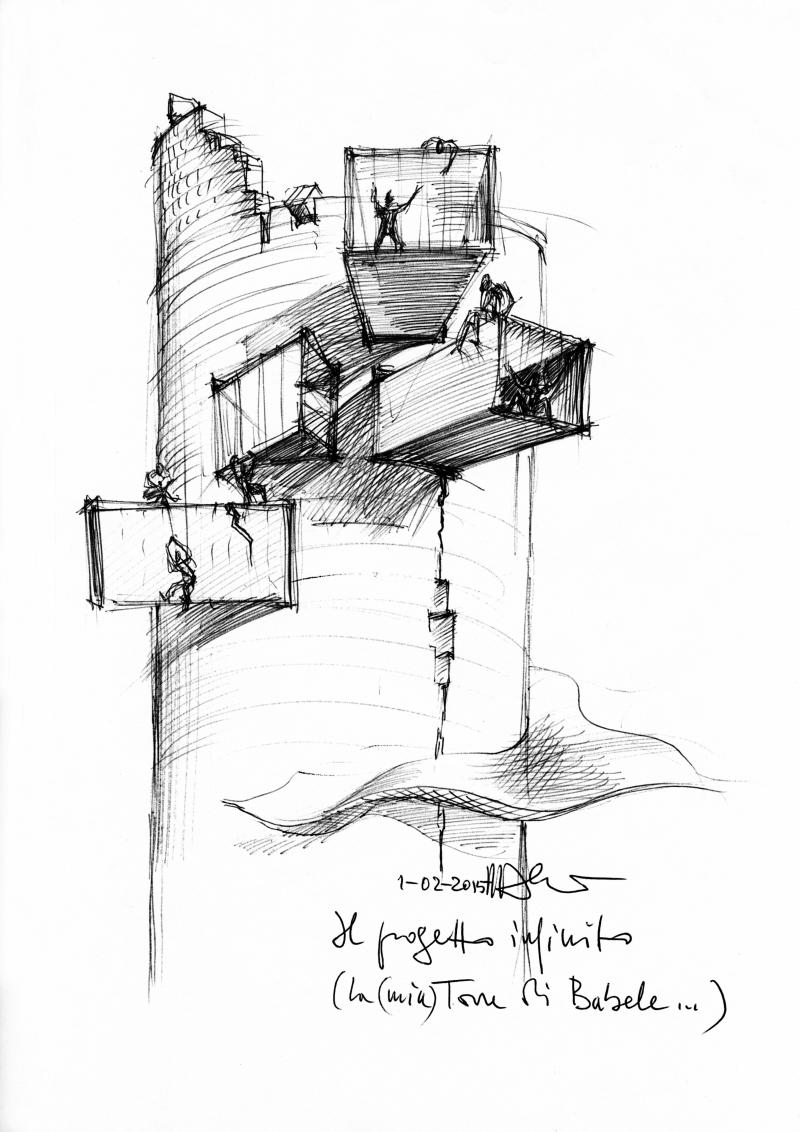 2015_Sketch 'La Torre di Babele' (∏ Mario Bellini Archive)