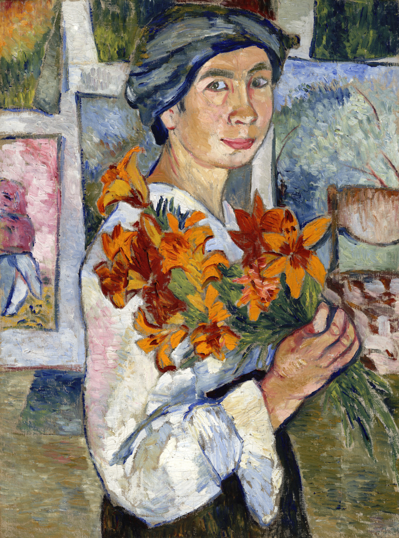 Goncharova-Self-Portrait-with-Yellow-Lilies-X67198