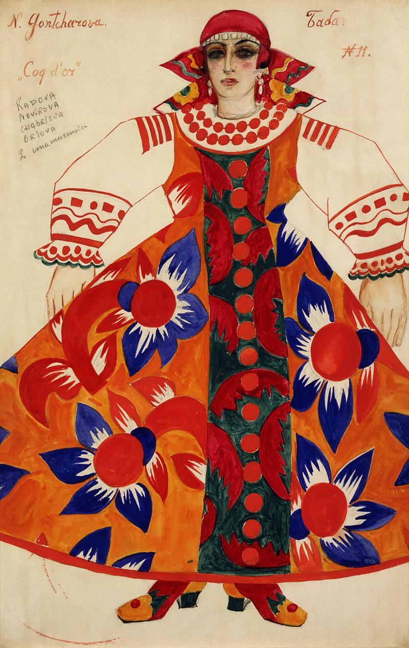 Goncharova-Peasant-woman.-Costume-design-for-Le-Coq-d'Or-1937-X71731