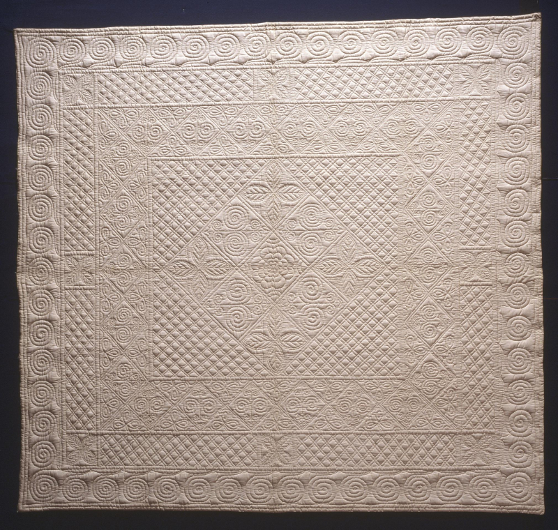Wholecloth quilt made by the Porth Quilters in 1933