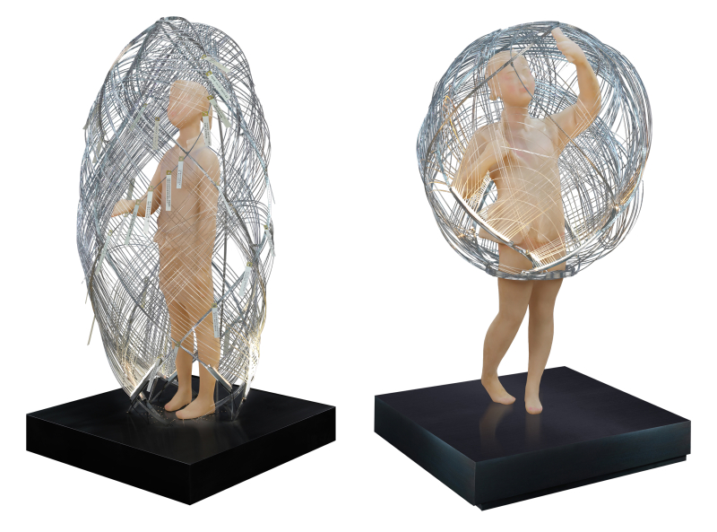 Xie Yong,Cyber Cocoon Kids,2018,70cm_70cm_170cm,optical fiber  silica gel  LED,Courtesy of the artist