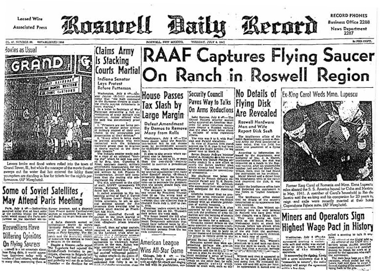 RoswellDailyRecordJuly8 1947
