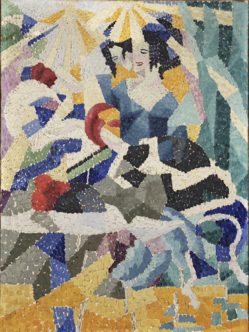 Gino_Severini _1910-11 _La_Modiste_(The_Milliner) _oil_on_canvas _64.8_x_48.3_cm _Philadelphia_Museum_of_Art